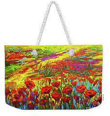 Blanket Of Joy Modern Impressionistic Oil Painting Of Poppy Flower Field Weekender Tote Bag