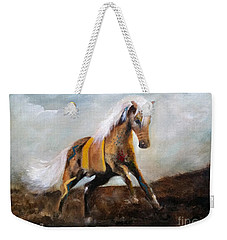 Weekender Tote Bag featuring the painting Blanket The War Pony by Barbie Batson