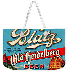 Blatz Old Heidelberg Vintage Beer Label Restored Weekender Tote Bag by Carsten Reisinger
