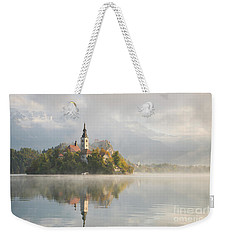 Bled Lake On A Beautiful Foggy Morning Weekender Tote Bag by IPics Photography