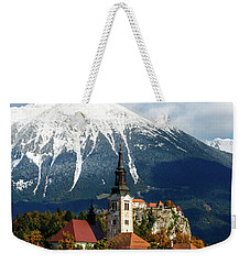 Bled Lake With Snow On The Mountains In Autumn Weekender Tote Bag