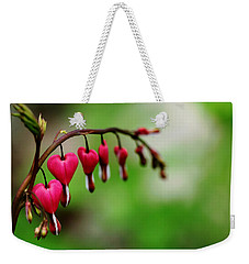Weekender Tote Bag featuring the photograph Bleeding Hearts Flower Of Romance by Debbie Oppermann