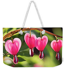 Weekender Tote Bag featuring the photograph Bleeding Hearts by Skip Tribby