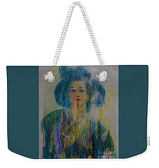 Weekender Tote Bag featuring the painting Bleu Femme Fatal by Roberto Prusso