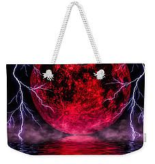 Blood Moon Over Mist Lake Weekender Tote Bag by Naomi Burgess