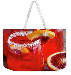 Weekender Tote Bag featuring the photograph Blood Orange Margaritas On The Rocks by Teri Virbickis