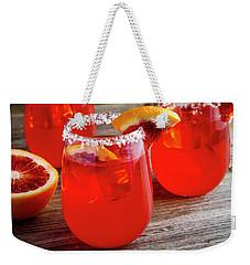 Weekender Tote Bag featuring the photograph Blood Orange Margaritas by Teri Virbickis