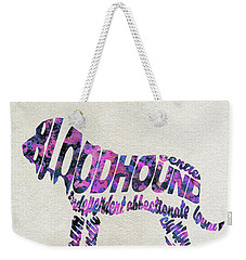 Weekender Tote Bag featuring the painting Bloodhound Dog Watercolor Painting / Typographic Art by Ayse and Deniz