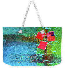 Weekender Tote Bag featuring the mixed media Bloom Abstract Collage by Nancy Merkle