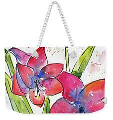 Weekender Tote Bag featuring the painting Blooming Amaryllis by Pat Katz