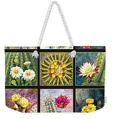 Weekender Tote Bag featuring the painting Blooming Cactus by Marilyn Smith