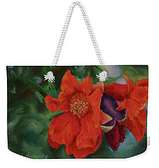 Weekender Tote Bag featuring the painting Blooming Poms by Marna Edwards Flavell