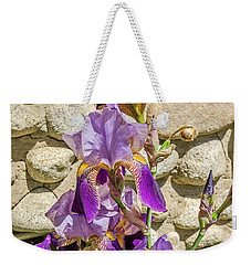 Weekender Tote Bag featuring the photograph Blooming Purple Iris by Sue Smith