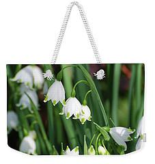 Blooming Snow Drop Lily Flowers In The Wild Weekender Tote Bag by DejaVu Designs