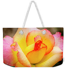 Blooming Yellow And Pink Rose Weekender Tote Bag by Teri Virbickis