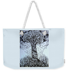 Weekender Tote Bag featuring the drawing Blossom At Any Age by Anna  Duyunova