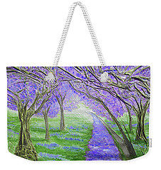 Weekender Tote Bag featuring the mixed media Blossoms by Angela Stout