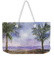 Weekender Tote Bag featuring the painting Blowing By The Ocean by Vicki  Housel