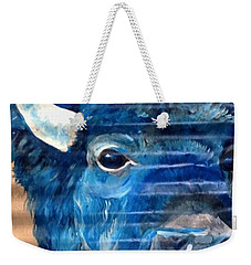 Weekender Tote Bag featuring the painting Blu Bison by Patty Sjolin
