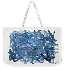 Weekender Tote Bag featuring the painting Blue Abstract by Megan Dirsa-DuBois
