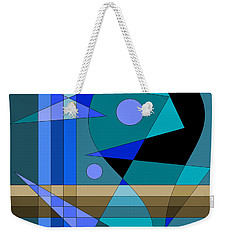 Weekender Tote Bag featuring the digital art Blue Abstract by Val Arie