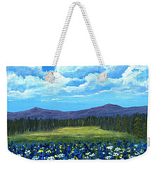Weekender Tote Bag featuring the painting Blue Afternoon by Anastasiya Malakhova