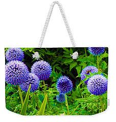 Blue Allium Flowers Weekender Tote Bag by Judi Saunders