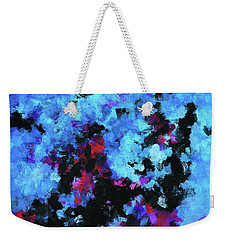 Weekender Tote Bag featuring the painting Blue And Black Abstract Wall Art by Ayse Deniz