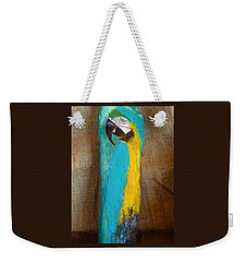 Blue And Gold Macaw Weekender Tote Bag by Ann Michelle Swadener