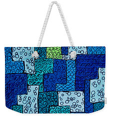 Weekender Tote Bag featuring the drawing Blue And Green Abstract 2 by Megan Walsh