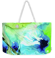 Weekender Tote Bag featuring the painting Blue And Green Abstract - Land And Sea - Sharon Cummings by Sharon Cummings