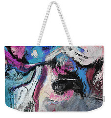 Weekender Tote Bag featuring the painting Blue And Pink Abstract Painting by Ayse Deniz