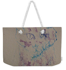 Weekender Tote Bag featuring the drawing Blue And Purple Cat by AJ Brown
