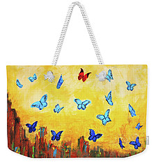 Weekender Tote Bag featuring the painting Blue And Red Butterflies by Haleh Mahbod