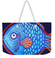 Blue And Red Fish Weekender Tote Bag by Genevieve Esson