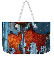 Weekender Tote Bag featuring the photograph Blue And Rust by Karol Livote