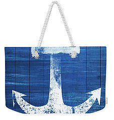 Weekender Tote Bag featuring the mixed media Blue And White Anchor- Art By Linda Woods by Linda Woods