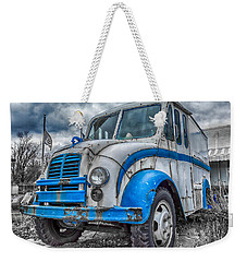 Blue And White Divco Weekender Tote Bag by Guy Whiteley