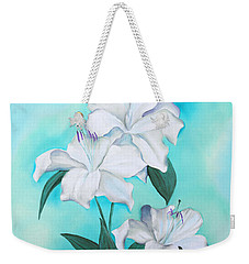 Weekender Tote Bag featuring the mixed media Blue And White by Elizabeth Lock