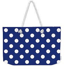 Weekender Tote Bag featuring the mixed media Blue And White Polka Dots- Art By Linda Woods by Linda Woods