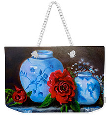 Blue And White Pottery And Red Roses Weekender Tote Bag