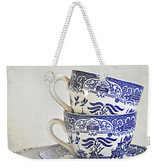 Blue And White Stacked China. Weekender Tote Bag