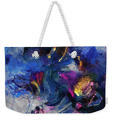 Weekender Tote Bag featuring the painting Blue And Yellow Minimalist / Abstract Painting by Ayse Deniz
