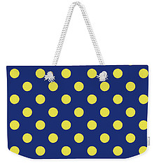Weekender Tote Bag featuring the mixed media Blue And Yellow Polka Dots- Art By Linda Woods by Linda Woods