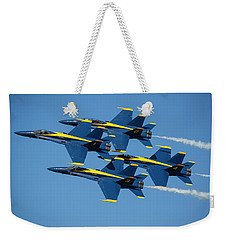 Weekender Tote Bag featuring the photograph Blue Angels Diamond Formation by Adam Romanowicz