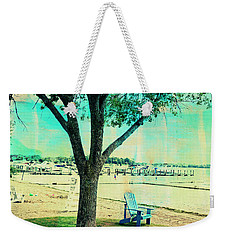 Weekender Tote Bag featuring the photograph Blue Beach Chair by Susan Stone