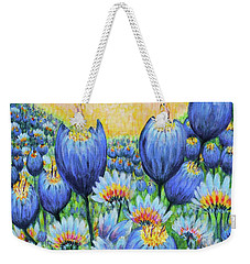 Weekender Tote Bag featuring the painting Blue Belles by Holly Carmichael