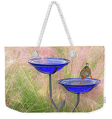 Blue Bird Bath Weekender Tote Bag by Rosalie Scanlon