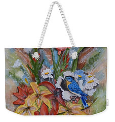 Weekender Tote Bag featuring the painting Blue Bird Eats Thru The Painting by Kelly Mills