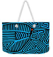 Weekender Tote Bag featuring the digital art Blue Bird Mola by Vagabond Folk Art - Virginia Vivier